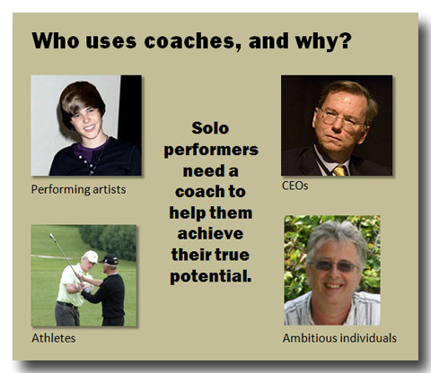 artists, CEOs, athletes and ambitious individuals all use coaches